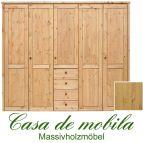 Massivholz Kleiderschrank Holz Kiefer massiv natur lackiert Schlafzimmerschrank RAUNA - 5-türig mit  glatter Front