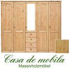 Massivholz Kleiderschrank Holz Kiefer massiv natur lackiert Schlafzimmerschrank RAUNA - 5-türig mit Spiegel und glatter Front