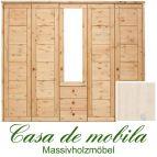 Massivholz Kleiderschrank Kiefer massiv weiß lasiert Schlafzimmerschrank RAUNA - 5-türig mit Spiegel und Kassetten-Front