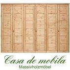 Massivholz Kleiderschrank Kiefer massiv gelaugt/geölt Schlafzimmerschrank RAUNA - 6-türig mit Kassetten-Front