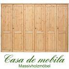 Massivholz Kleiderschrank Holz Kiefer massiv gelaugt/geölt Schlafzimmerschrank RAUNA - 6-türig mit glatter Front
