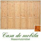 Massivholz Kleiderschrank Holz Kiefer massiv provance/honig lackiert Schlafzimmerschrank RAUNA - 6-türig mit glatter Front