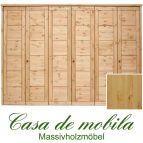 Massivholz Kleiderschrank Kiefer massiv natur lackiert Schlafzimmerschrank RAUNA - 6-türig mit Kassetten-Front