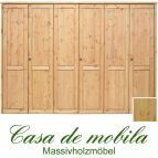 Massivholz Kleiderschrank Holz Kiefer massiv natur lackiert Schlafzimmerschrank RAUNA - 6-türig mit glatter Front