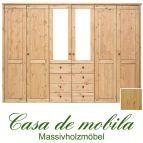 Massivholz Kleiderschrank Holz Kiefer massiv natur lackiert Schlafzimmerschrank RAUNA - 6-türig mit Spiegeltüren und glatter Front