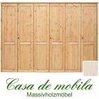 Massivholz Kleiderschrank Holz Kiefer massiv weiß lasiert Schlafzimmerschrank RAUNA - 6-türig mit glatter Front