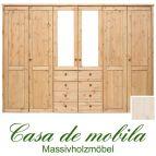Massivholz Kleiderschrank Holz Kiefer massiv weiß lasiert Schlafzimmerschrank RAUNA - 6-türig mit Spiegeltüren und glatter Front