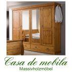 Massivholz Kleiderschrank Kiefer massiv honig lackiert Schlafzimmerschrank Landhausstil ROLAND II - 4-türig