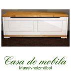 Massivholz Deckeltruhe groß Guldborg Truhe Holz Kiefer massiv 2-farbig weiß lasiert gelaugt/geölt