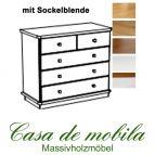 Massivholz Kommode Kiefer massiv 2-farbig honig lackiert / weiß lasiert GOSLAR - Wäschekommode mit Sockelblende Schubladenkommode