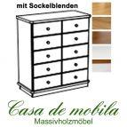 Massivholz Apothekerschrank Kiefer massiv natur lackiert GOSLAR - Schubladenkommode mit Sockelblenden