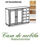 Massivholz Sideboard Kiefer massiv 2-farbig honig lackiert / weiß lasiert GOSLAR - Kommode mit Sockelblende Anrichte