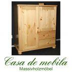 Massivholz Mehrzweckschrank Kiefer massiv lackiert Wäscheschrank GOSLAR - Kommode mit Kugelfüßen Schrank