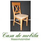 Massivholz Stuhl mit polster Kiefer massiv natur lackiert ALENA - Stuhl Holzstuhl Küchenstuhl Esszimmerstuhl