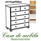 Massivholz Wäschekommode Kiefer massiv 2-farbig honig lackiert / weiß lasiert GOSLAR - Kommode mit Kugelfüßen Schubladenkommode