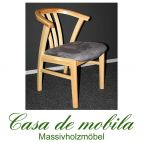Armlehnstuhl Kiefer massiv natur lackiert Holzstuhl FARO mit Sitzpolster grau