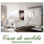 Massivholz Schlafzimmer komplett Kiefer massiv weiß ROLAND II