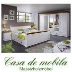 Schlafzimmer Kiefer komplett 4-teilig NEAPEL - weiß gewachst / Absetzungen honig