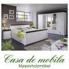Schlafzimmer Kiefer komplett 4-teilig NEAPEL - weiß gewachst / Absetzungen kolonial