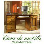 Schreibtisch klein Computertisch Kiefer massiv goldbraun patiniert Gopano  - Schreibtisch mit Unterbau