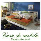 Massivholz Schubkastenbett Kiefer INFANSKIDS - 90x200 mit Gästebett-Schublade, 2-farbig weiß gelaugt
