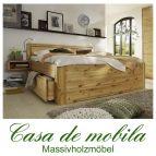 Massivholz Bett mit schubladen 140x200 Astkiefer massiv gelaugt geölt GLORIA Luxus