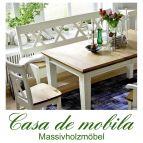 Massivholz Sitzbank 179 Holz Kiefer massiv champagner lackiert / Wildeiche geölt NORDIC HOME