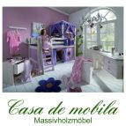 Massivholz Spielbett 90x200 mit Himmelbett-Aufsatz - Holz Kiefer massiv weiß lasiert INFANSKIDS rosa lila