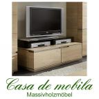 Massivholz TV-Lowboard rustikale Asteiche massiv bianco gebürstet geölt - Fernsehkommode ACERRO