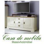 Massivholz TV-Lowboard Holz Kiefer massiv champagner lackiert / Wildeiche geölt NORDIC HOME mit 3 Schubladen