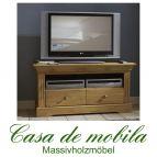 Massivholz TV-Lowboard Kiefer massiv gelaugt geölt - Fernsehkommode klein WINDSOR