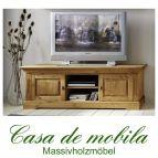 Massivholz TV-Lowboard Kiefer massiv gelaugt geölt - Fernsehkommode groß WINDSOR