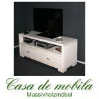 Massivholz TV-Lowboard TV Kommode Kiefer massiv weiss GULDBORG 120 cm