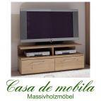 Massivholz TV-Lowboard mit Aufsatz Wildeiche massiv bianco geölt OXFORD