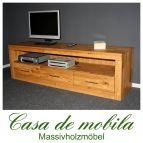 Massivholz TV-Lowboard TV Kommode groß Jale - Wildeiche massiv geölt