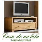 Massivholz TV-Lowboard TV Kommode Kiefer massiv gelaugt geölt GULDBORG 120 cm