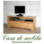 Massivholz TV-Lowboard Kiefer massiv lackiert TV kommode TV Schrank GULDBORG - 120cm
