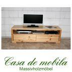 Massivholz TV-Lowboard Kiefer massiv lackiert TV Kommode TV Schrank GULDBORG - 160cm