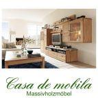 Massivholz Wohnwand 5-teilig Holz Kernbuche massiv geölt CASERA - Wohnzimmer Rotkernbuche