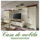 Massivholz Wohnwand Kiefer massiv weiß honig Anbauwand Landhausstil  Wohnzimmerschrank PARIS - Vintage, 2-farbig champagner / goldbraun