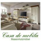 Massivholz Wohnzimmer komplett Kiefer massiv weiß honig Anbauwand Landhausstil  Wohnzimmerschrank PARIS - Vintage, 2-farbig champagner / goldbraun