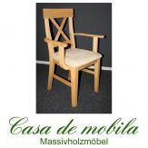 Massivholz Armlehnstuhl mit polster Kiefer massiv gelaugt geölt ALENA - Holzstuhl Armlehnstuhl mit Polster