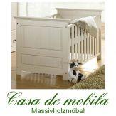 Massivholz Babybett / Kinderbett Kiefer massiv weiss ODETTE - weiß lasiert