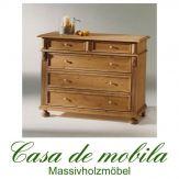 Massivholz Wäschekommode Schubladenkommode Fichte massiv ALINA - antik od. natur gewachst / weiß gewischt od. lackiert