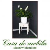 Massivholz Beistelltisch Nachttisch Blumentisch massiv weiß Decor Pappel