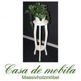 Massivholz Blumenhocker Blumentisch rund weiß antik lackiert Pappel DECOR 80cm