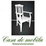 Massivholz Stuhl mit armlehne weiss Armlehnstuhl Armlehnsessel Fichte massiv weiß LARA