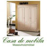 Massivholz Kleiderschrank weiss Fichte massiv LARA schlafzimmerschrank 3-türig, weiß