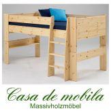 Massivholz Hochbett Kiefer massiv lackiert 90x200 For Kids Holz