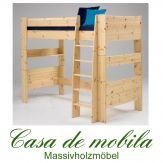 Massivholz Hochbett Kiefer massiv lackiert Etagenbett 90x200 For Kids
